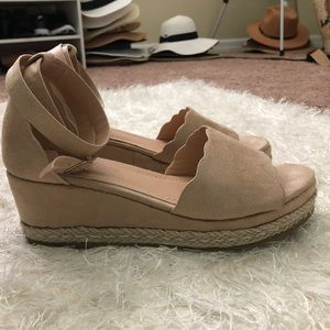 Nude Tan ankle strap espadrille size 7 Worn once